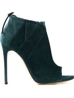 Lately- something about this shade of green.  Casadei Open Toe Booties - Russo Capri - Farfetch.com