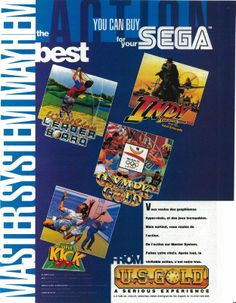 World Class Leader Board, Indiana Jones and the Last Crusade, Olympic Gold & Super Kick Off for Master System (France, U.S. Gold / Anco, December 1992)