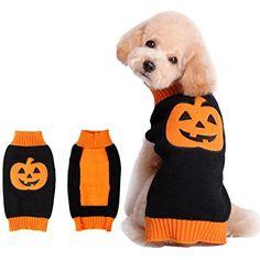 BOBIBI Pet Holiday Halloween Pumpkin Pet Clothes Dog Sweater