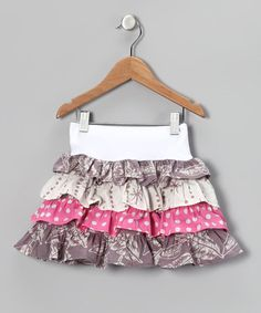 Take a look at this White & Gray Tiered Skirt - Toddler & Girls by Young Colors on #zulily today!