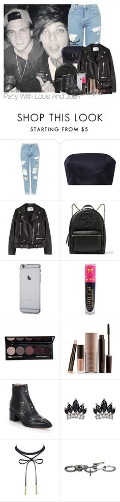 """""""Louis~#52"""" by lauren-beth-owens ❤ liked on Polyvore featuring Topshop, Katie Ermilio, Acne Studios, Gucci, Jeffree Star, Laura Mercier, Valentino, Fallon, maurices and louistomlinson"""