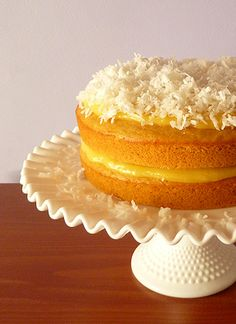 Cantaloupe Cake w/ Orange Curd Filling & Coconut Topping. Not quite coconut cake but I couldn't resist. Summer Desserts, Just Desserts, Delicious Desserts, Yummy Food, Elegant Desserts, Filling Recipe, Sweets Recipes, Cake Recipes, Orange