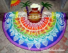 Discover some of the most pretty Pongal kolam designs and Sankranti rangoli patterns in here. Make these kolam designs and decorate your home for Pongal. Indian Rangoli Designs, Rangoli Designs Latest, Simple Rangoli Designs Images, Rangoli Designs Flower, Rangoli Border Designs, Rangoli Patterns, Rangoli Ideas, Rangoli Designs With Dots, Beautiful Rangoli Designs