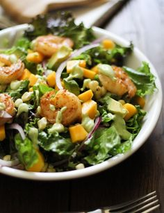 Curry Shrimp Chopped Salad with Creamy Avocado Dressing  (www.theroastedroot.net)