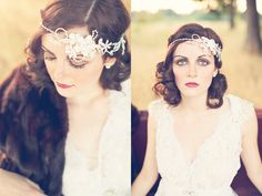 This flapper-inspired style is just adorable. #flapper #hair #retro #weddinghair