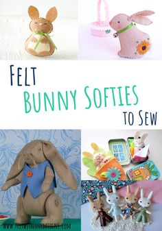 Would you like to sew a felt bunny? This huge list has Bunny Softie Sewing Patterns including over 50 felt bunny patterns, free bunny patterns, Easter Bunnies to sew, and a few other bunny sewing patterns. There is even an adorable bunny costume! Diy Handmade Toys, Handmade Felt, Cute Easter Bunny, Felt Bunny, Animal Sewing Patterns, Felt Patterns, Sewing Stuffed Animals, Stuffed Animal Patterns, Beginner Sewing Patterns