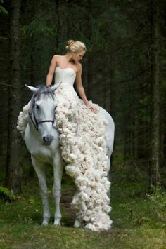 Don't like the dress, but love the idea of a wedding photo shoot o a whiye or black horse.