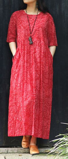 1b7676a7e7729 100% v neck tie waist cotton dresses plus size Wardrobes red print Maxi  Dresses Summer