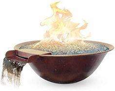 "Amazon.com: Custom Cascade 30""x9"" Luna Fire/Water Bowl Elec-LP 70lb Glass: Garden  Outdoor Outdoor Heaters, Patio Heater, Copper Fire Pit, Cascade Water, Fire Pit Bowl, Water Glass, Outdoor Gardens, Decorative Bowls, Glass Garden"