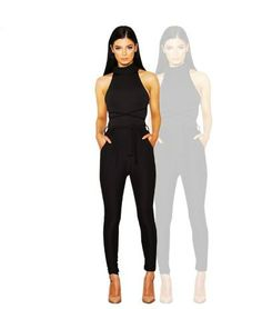 Black High Collar Halter Jumpsuit - PRE ORDER