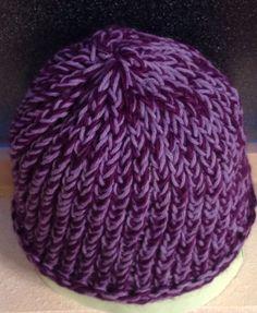 Purple/Light Purple Loom Knit Hat, Adult Size. $15