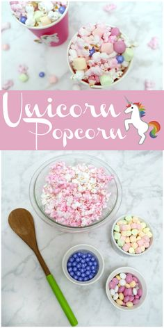 Unicorn popcorn recipe. Make this fun treat for your next party. Plus unicorn printable.