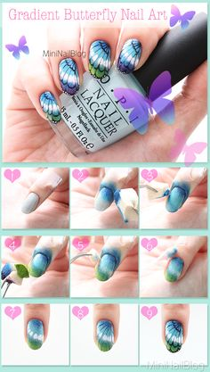 Gradient Butterfly Nail Art Tutorial https://nailbees.com/butterfly-nail-art