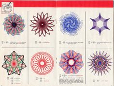 Spirograph, one of my favorite toys.which I labored over desperately. Somehow, my geometrical designs were never as perfect as these from the manual. And BTW, toys that come with a full baggie of tiny tiny pins? That'll never happen again. Vintage Crafts, Vintage Toys, Spirograph Art, Craft Projects, Projects To Try, Craft Ideas, Design Seeds, Repeating Patterns, Mandalas