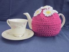 Tea cosy crochet daisies by WisteriaCottageCraft on Etsy, £8.50