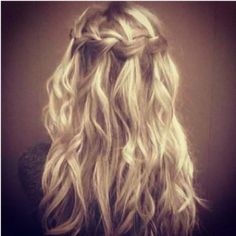 The waterfall braid with curly, beachy, wavey hair is so sexy!