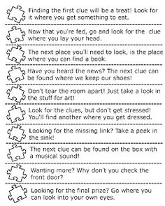 """Here's how the educational scavenger hunt works: 1) Divide your puzzle pieces into 10  envelopes 2) Create rhyming clues for all the place you want to hide the pieces 3) Place the clues inside the envelopes, and hide them throughout the house! 4) Once everything is set-up, ask your child to go find the clues to help build their puzzle! 5) Once all the pieces are collected and before you begin to assemble your puzzle, use this as an opportunity to practice """"counting by tens""""."""