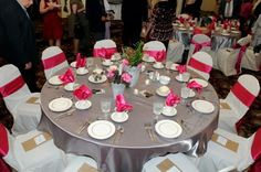 Dark Grey Tablecloths, Green & Fuchsia Chair Sashes/Cloth Napkins :  wedding chair sash charcoal grey cloth napkin dark grey diy fuchsia green hot pink lime green reception table cloth Wedding Linens