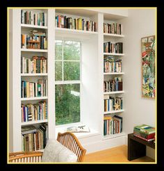 Built-ins for my books, window seat for my reading.want both for my home office! ---seen around a single window. Usually thing large bay or double windows, nice to see how this would look since this is the plan for the garage. - home me Floor To Ceiling Bookshelves, Bookshelves Built In, Built Ins, Book Shelves, Bookcases, Wall Shelves, Window Shelves, Ceiling Windows, Bookshelf Wall