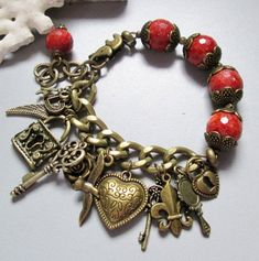 Charm Bracelet with Sponge Corall and Brass on Etsy, $52.00