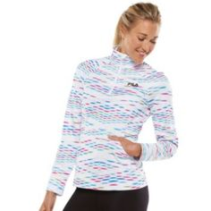FILA SPORT Curve 1/4-Zip Printed Fleece-Lined Pullover - Women's