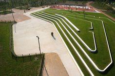 Clos Layat Park by BASE Landscape Architecture Landscape Stairs, Landscape And Urbanism, Landscape Elements, Park Landscape, Modern Landscape Design, Landscape Architecture Design, Landscape Plans, Contemporary Landscape, Urban Landscape