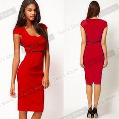 15c972601f7 Vintage Plus Size 4XL Hot Women White Square Neck Retro casual Fashion  Pinup Bodycon Pencil Sheath Dress