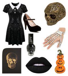 """back to skull"" by vegan-poe on Polyvore featuring art, Halloween, black, skull, killstar and limecrime"