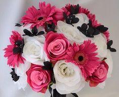 Gerbera daisies & white rose bouquet