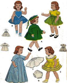 """Old Doll Clothes PATTERN 7157 for 23"""" Saucy Walker Bonny Braids Susan Stroller"""