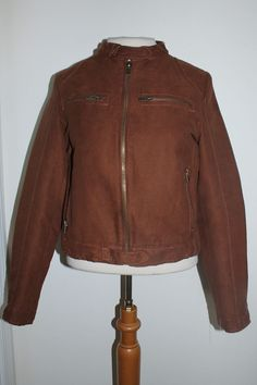 Zara Basic Coat M Brown Faux Suede Cropped Moto Jacket #ZaraBasic #Motorcycle