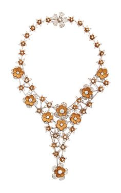 18K White Gold And Leather Flower Necklace by Wilfredo Rosado for Preorder on Moda Operandi