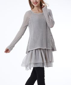 Simply Couture Gray Crochet Scoop Neck Tunic | zulily