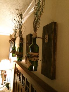 Wine Bottle wall sconce, wall hanging, decorative wine bottle on Etsy, $95.00