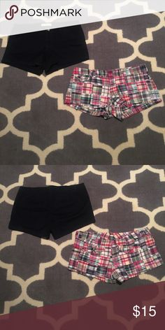 2 X American Eagle & Abercrombie Shorts Size 6 Abercrombie navy shorts worn once. Excellent condition. Waist measures 16 1/2 inches lying flat. Inseam 3 inches. American Eagle madras Plaid shorts in great condition. Waist measures 16 1/2 inches lying flat. Inseam 2 inches. American Eagle Outfitters Shorts