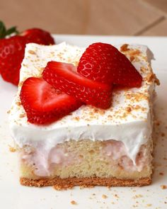 This Strawberry Cheesecake Poke Cake Is Basically Magic Make in 9x13 pan--- decrease amount of milk from 1c. Msybe split cake & put filling between layers. ***********