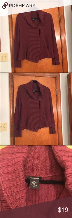 Calvin Klein women's cardigan size large! Calvin Klein Jeans, women's large, maroon ish color, thicker material, very comfy and cozy, worn a few times. No flaws, excellent condition. Super cute! Calvin Klein Sweaters Cardigans