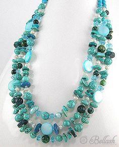 51756164 Collar de Turq, Madre Perlas, Perlas, Cristal, c/Plata 925, (En oferta)