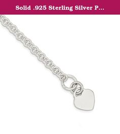 Solid .925 Sterling Silver Polished Heart Bracelet 8.5 inches. Material: Primary - Purity:925|Chain Length:7.5 in|Chain Width:6 mm|Charm/Element Length:15 mm|Charm/Element Width:17 mm|Clasp Width (Female end):12 mm|Feature:Solid|Manufacturing Process:Hand Made|Material: Primary:Sterling Silver|Product Type:Jewelry|Jewelry Type:Bracelets|Bracelet Type:Themed|Material: Primary - Color:White.