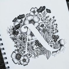 Trendy Flowers Black And White Illustration Etsy Ideas Tattoo Fonts Alphabet, Letter A Tattoo, Monogram Tattoo, Monogram Alphabet, Alphabet Art, Flower Alphabet, Tattoo Typography, Alphabet Design, Monogram Logo