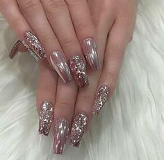 Rose Gold Nails, Metallic Nails, Sparkle Nails, Long Acrylic Nails, Fancy Nails, Fabulous Nails, Gorgeous Nails, Stylish Nails, Trendy Nails