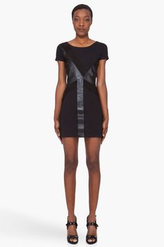 SURFACE TO AIR Black Leather Panel Dress