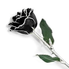 Lacquer Dipped Silver Trim Black Rose (11 Inch)