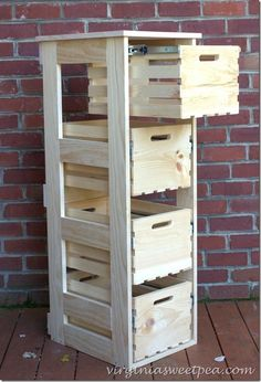 diy crate cabinet with sliding drawers, diy, storage ideas, woodworking projects bench design furniture jigs techniques Easy Woodworking Projects, Diy Pallet Projects, Woodworking Furniture, Woodworking Plans, Diy Furniture, Woodworking Joints, Woodworking Shop, Woodworking Techniques, Pallet Ideas
