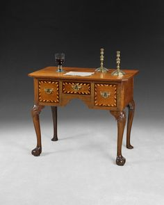George II Inlaid Oak Lowboy, cabriole legs and ball and claw feet. Made Ca. 1730 and in need of a good home!