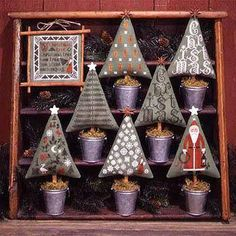 Free Gift w/Pre-Order NEW Christmas Trees Book No. 82 counted cross stitch patterns by Prairie Schooler at thecottageneedle.com sampler by thecottageneedle