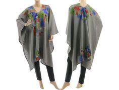 Boho grey linen poncho cape handpainted grey linen von classydress
