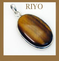 riyo self assured tiger eye 925 solid sterling silver brown pendant