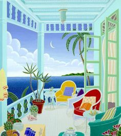 Silkscreen on Paper - Limited Edition x © 2012 Thomas McKnight. Scrapbooking Image, Thomas Mcknight, Buddha Wall Art, Art Thomas, Caribbean Art, Tropical Art, Naive Art, Art And Architecture, Oeuvre D'art