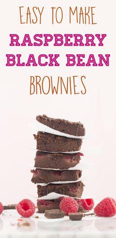 Delicious and moist Raspberry Black Bean Brownies. These black bean brownies are vegan and gluten free. Easy to make black bean brownies with raspberries Healthy Sugar, Healthy Sweets, Healthy Food, Vegan Treats, Vegan Foods, Gluten Free Desserts, Healthy Desserts, Healthy Recipes, Black Bean Brownies